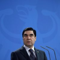 President of Turkmenistan Gurbanguly Berdimuhamedow attends news conference at Chancellery in Berlin