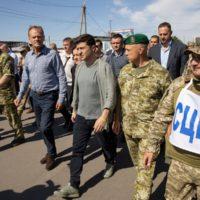 Ukraine's President Volodymyr Zelenskiy and European Council President Donald Tusk visit Luhansk region